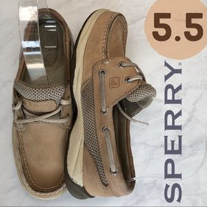 Sperry Topsider Classic Tan Mesh Leather Boat 5.5